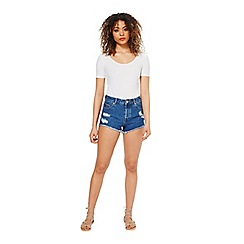 Miss Selfridge - White scoop crop tee