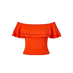 Miss Selfridge - Red bardot frill top