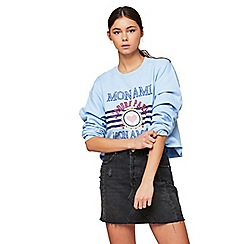 Miss Selfridge - Blue mon ami slogan cropped sweatshirt