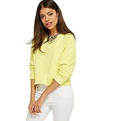 Miss Selfridge - Yellow crop sweatshirt