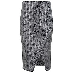 Miss Selfridge - Grey wrap pencil skirt