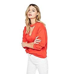 Miss Selfridge - Red choker neck sweatshirt