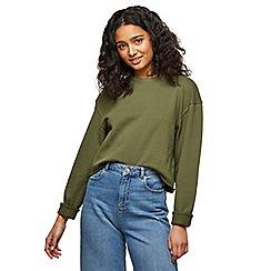 Miss Selfridge - Khaki crop sweatshirt