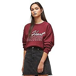 Miss Selfridge - Burgundy heartbreaker sweatshirt