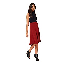 Miss Selfridge - Rust pleated midi skirt
