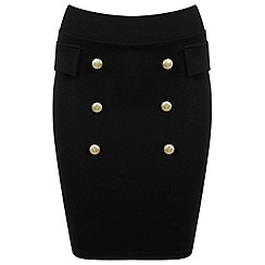 Miss Selfridge - Black button front skirt
