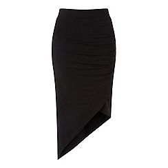 Miss Selfridge - Black side rouched skirt
