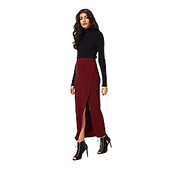 Miss Selfridge - Burgundy maxi side split skirt