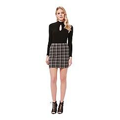 Miss Selfridge - Grey check mini skirt