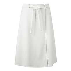 Miss Selfridge - Cream wrap belted skirt