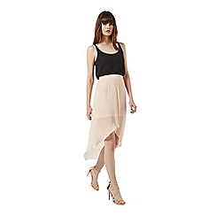 Miss Selfridge - Peach plisse skirt