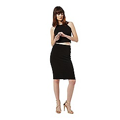 Miss Selfridge - Black rib pencil skirt