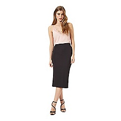 Miss Selfridge - Black rib midi skirt