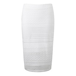 Miss Selfridge - White lazer cut skirt