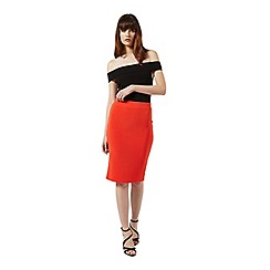 Miss Selfridge - Red rib pencil skirt