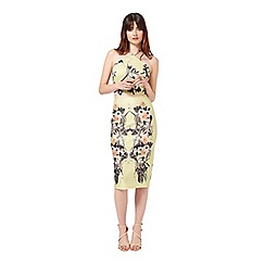 Miss Selfridge - Lime tropical pencil skirt