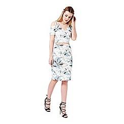 Miss Selfridge - Blue floral midi skirt