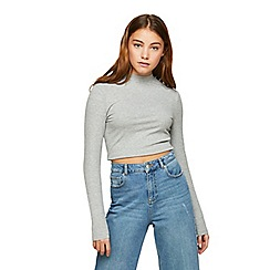 Miss Selfridge - Grey funnel neck top