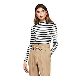 Miss Selfridge - Stripe funnel neck top