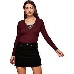 Miss Selfridge - Burgundy lattice front top