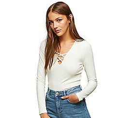 Miss Selfridge - Cream lattice front top