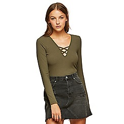 Miss Selfridge - Khaki lattice front top