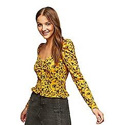 Miss Selfridge - Ochre floral sweetheart top