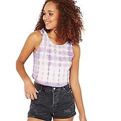 Miss Selfridge - Purple tie dye velvet camisole
