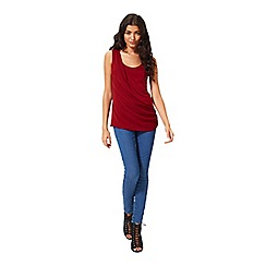 Miss Selfridge - Burgundy chiffon drape top