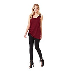 Miss Selfridge - Burgundy lace back knot cami