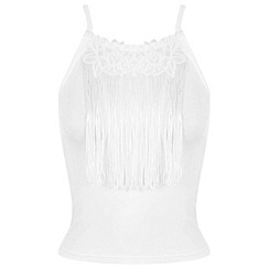 Miss Selfridge - Cream fringed 90s crop