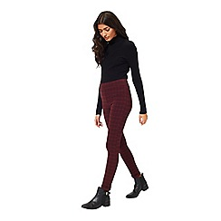 Miss Selfridge - Burgundy check tube trouser
