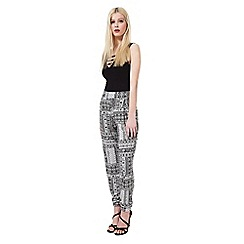 Miss Selfridge - Mono print patchwork jogger