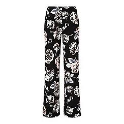 Miss Selfridge - Black floral wide leg trousers