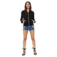 Miss Selfridge - Black jersey bomber jacket