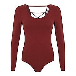 Miss Selfridge - Rust lattice back bodysuit