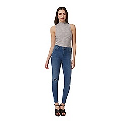 Miss Selfridge - Grey rib high neck body