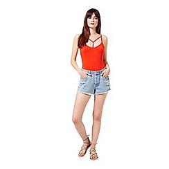 Miss Selfridge - Orange strappy t bar body