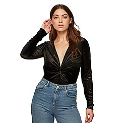 Miss Selfridge - Black twist velvet bodysuit