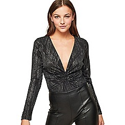 Miss Selfridge - Silver glitter twist body
