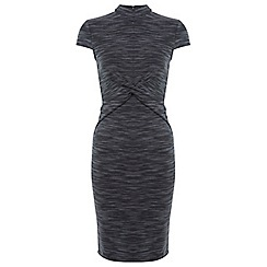 Miss Selfridge - Grey twist high neck dress