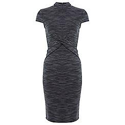 Miss Selfridge - Grey twist high neck dress