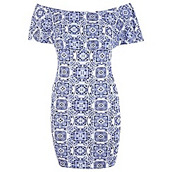 Miss Selfridge - Tile print ruffle bardot dress