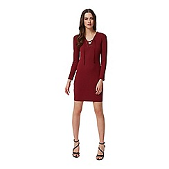 Miss Selfridge - Burgundy eyelet rib dress