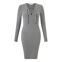 Miss Selfridge - Grey eyelet rib dress