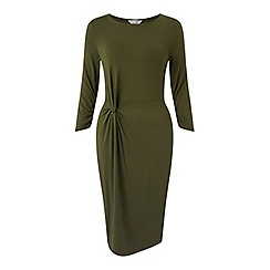 Miss Selfridge - Khaki twist front midi dress
