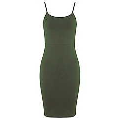 Miss Selfridge - Khaki strappy bodycon dress