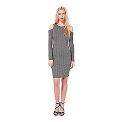 Miss Selfridge - Grey cold shoulder rib dress