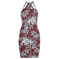 Miss Selfridge - Burgundy floral 90s dress