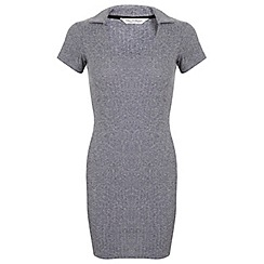 Miss Selfridge - Grey rib collar dress